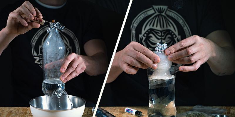De twee verschillende typen gravity bongs