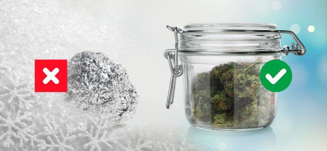 Invriezen Versus Luchtdichte, Glazen Pot Voor Bewaren Van Cannabis