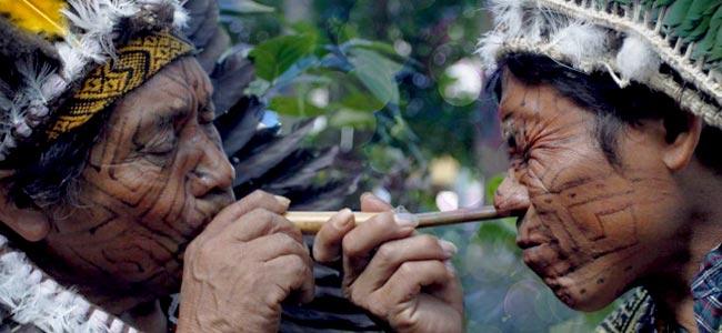 Inheemse Stammen In Zuid-amerika Gebruiken Rapé Bij Ceremoniële Rituelen